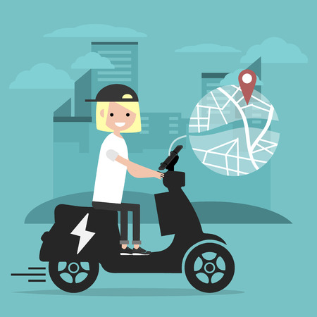 Young character riding an electric scooter and using a navigational app. Map and geo tag on city background.Flat cartoon design.Clip art