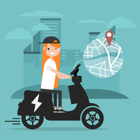 Young character riding an electric scooter and using a navigational app. Map and geo tag on city background.Flat cartoon design.Clip art Stockfoto - 124996714