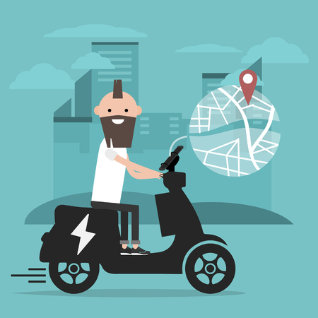 Young character riding an electric scooter and using a navigational app. Map and geo tag on city background.Flat cartoon design.Clip art Stockfoto - 124996715