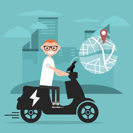 Young character riding an electric scooter and using a navigational app. Map and geo tag on city background.Flat cartoon design.Clip art Stockfoto - 124996717