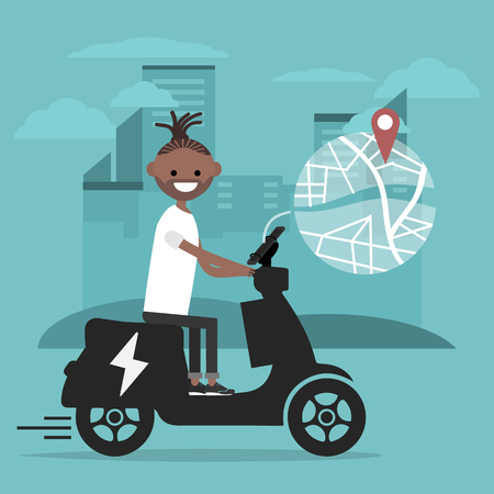 Young character riding an electric scooter and using a navigational app. Map and geo tag on city background.Flat cartoon design.Clip art Stockfoto - 124996718