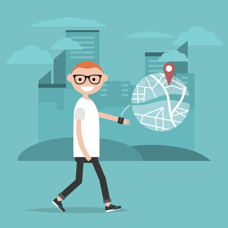 Young character using a navigational app with smart watch.Map and geo tag on city background.Flat cartoon design.Clip art Ilustração