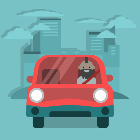 Young character driving a red car. Urban lifestyle. Flat cartoon illustration, clip art Illusztráció