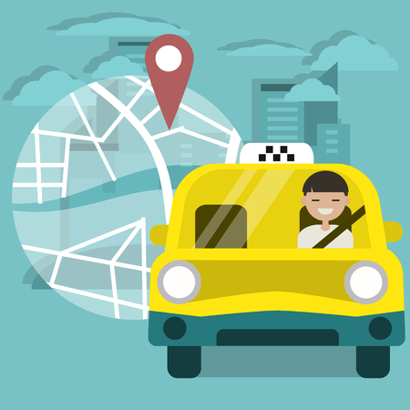 Young character driving a yellow car.Taxi service and navigational app.Map and geo tag on city background .Flat cartoon illustration, clip art