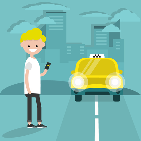 Taxi service. Mobile application.Young character waiting for a car. Flat cartoon illustration, clip art