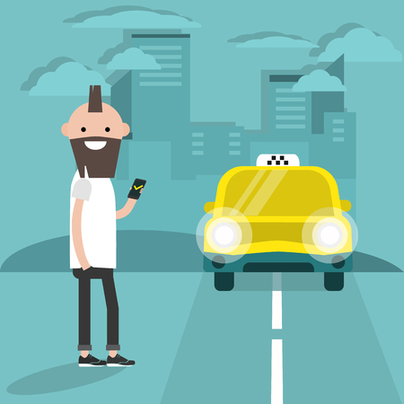 Taxi-Service. Mobile application.Young Charakter wartet auf ein Auto. Flache Cartoon-Illustration, ClipArt