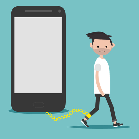 Social problem smartphone addiction.Nomophobia.Young character on the chain on the phone.Flat cartoon illustration with space for your text.clip art Vectores