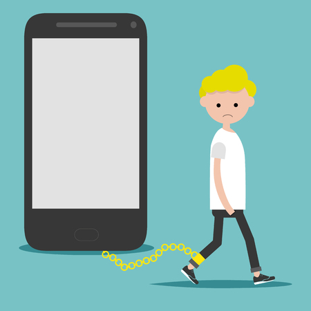 Problema social adicción al teléfono inteligente. Nomofobia. Personaje joven en la cadena en el teléfono. Ilustración de dibujos animados plana con espacio para su texto.