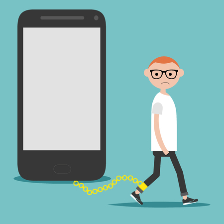 Social problem smartphone addiction.Nomophobia.Young character on the chain on the phone.Flat cartoon illustration with space for your text.clip art Illustration