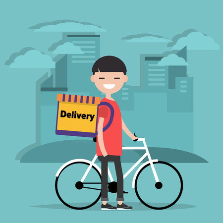 Bicycle delivery.Character with parcel box on the back. Ecological city bike food delivering service concept with courier carrying package on modern city background. Flat cartoon design.clip art Ilustração