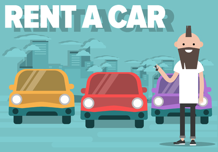 Rent a car concept with cars and young character holding auto key. Urban cityscape background.Flat cartoon design.clip art