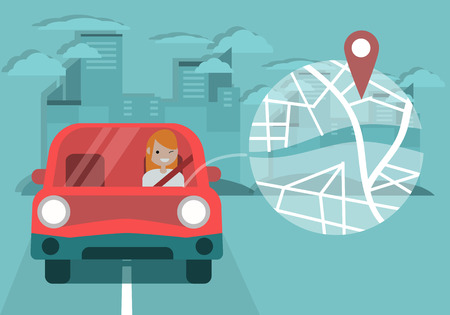 Young character driving a car and using a navigational app. Map and geo tag on city background.Flat cartoon design.Clip art