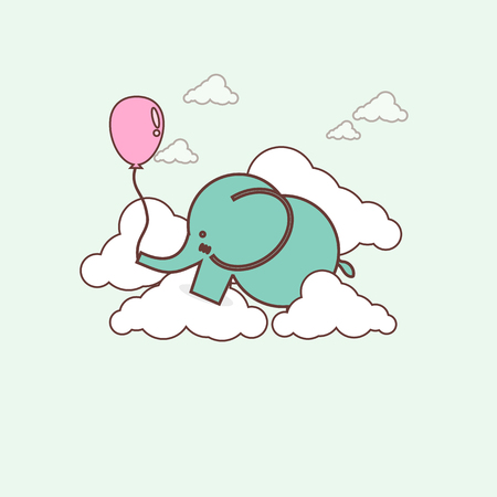 Cartoon elephant with balloon in the sky clip art,flat design
