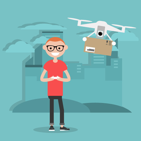 Drone delivery service. Young character controlling a drone with a remote controller.Flat cartoon designClip art