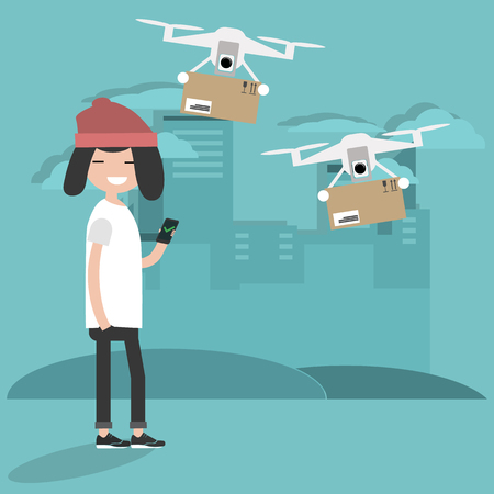 Drone delivery service. Young character using the app to receive the parcel.Flat cartoon designClip art