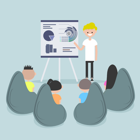 Staff education. Office workshops and seminars.Career. Modern workers. Flat cartoon design.Clip art Ilustrace