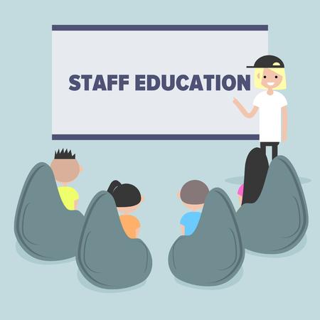 Staff education. Office workshops and seminars.Career. Modern workers. Flat cartoon design.Clip art Ilustração