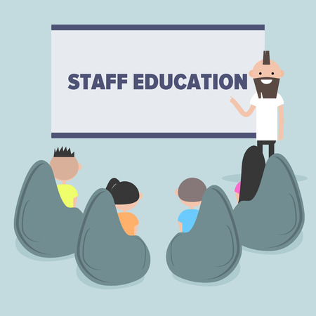 Staff education. Office workshops and seminars.Career. Modern workers. Flat cartoon design.Clip art Illustration