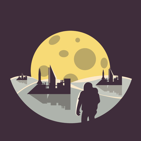 colonization futuristic landscape with colony base ,astronaut and moon.flat design