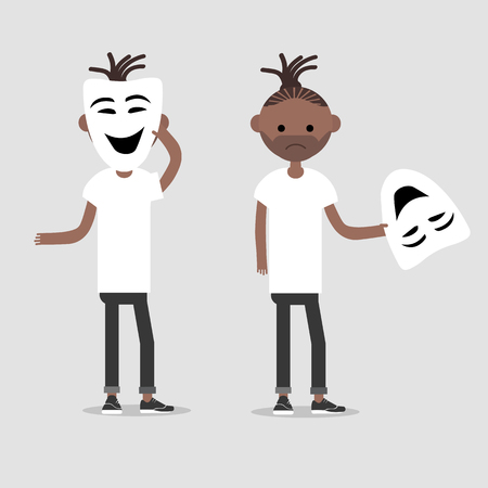 Young chacter in two variations holds happy mask.Hypocrisy,Flat cartoon design.Clip art