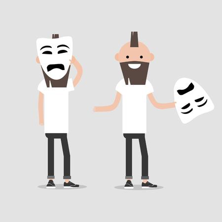 Personaje joven en dos variaciones sostiene máscara triste. Hipocresía, diseño plano de dibujos animados. Clip art