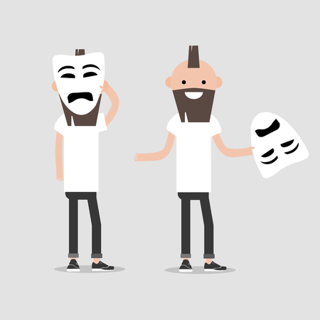 Young chacter in two variations holds sad mask.Hypocrisy,Flat cartoon design.Clip art