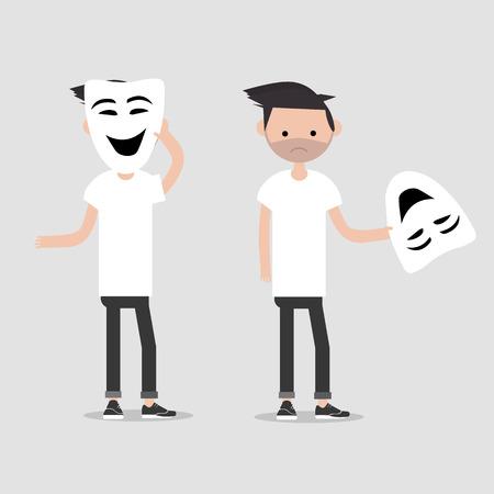 Junger Charakter in zwei Variationen hält glückliche Maske. Heuchelei, flaches Cartoon-Design. ClipArt