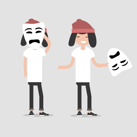 Young chacter in two variations holds sad mask.Hypocrisy,Flat cartoon design.Clip art Vector Illustration