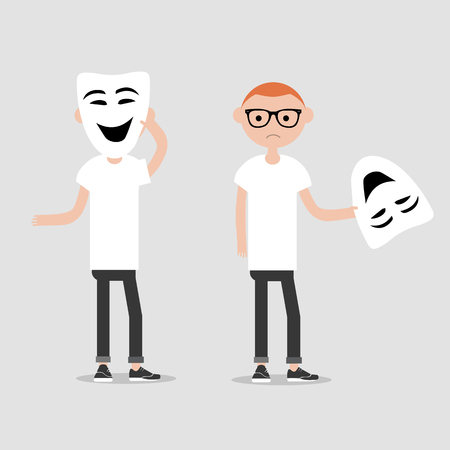 Young chacter in two variations holds happy mask.Hypocrisy,Flat cartoon design.Clip art Vector Illustration