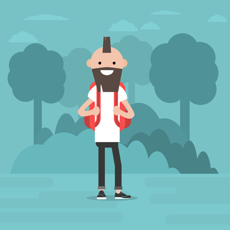 Young character walking in the woods. Backpacker. Travel. Flat editable vector illustration, clip art Ilustrace
