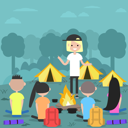 Camping in forest. Young characters near bonfire.Campfire stories.Flat cartoon design.Clip art