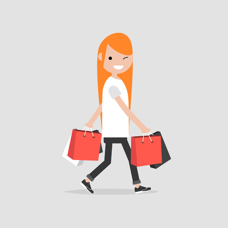 Young character with the shopping bags.Flat cartoon design.Clip art