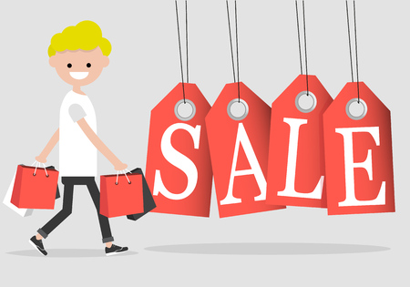 Young character with the shopping bags and sale tagFlat cartoon design.Clip art