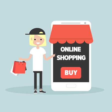Mobile online shopping.Young character with shopping bags.Flat cartoon design.Clip art Illustration