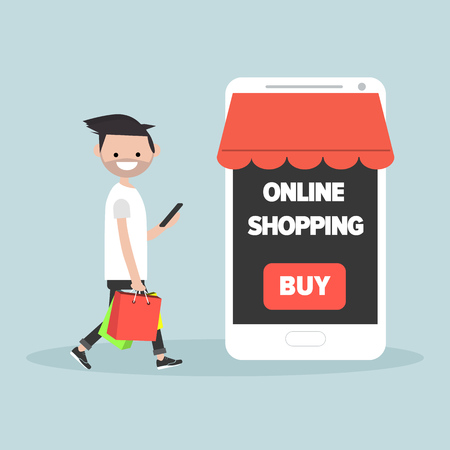 Mobile online shopping.Young character with shopping bags.Flat cartoon design.Clip art Stock Illustratie