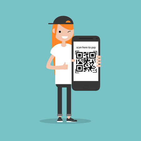 Qr code payment.Scan here to pay.Young character with smartphone.Flat cartoon design.Clip art Ilustrace