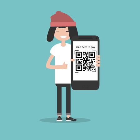 Płatność kodem QR. Zeskanuj tutaj, aby zapłacić. Młoda postać ze smartfonem. Płaski projekt kreskówek. Obrazek