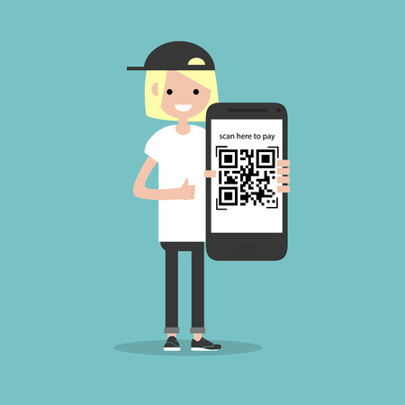 Qr code payment.Scan here to pay.Young character with smartphone.Flat cartoon design.Clip art Illustration
