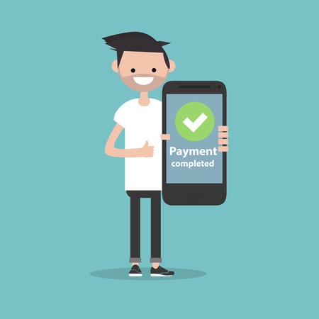 Payment completed.Young character holding a smartphone. Flat cartoon design,Clip art Çizim