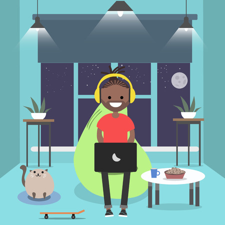 Young character sitting on bean bag with laptop.Night room.Gamer.Flat cartoon design Vectores