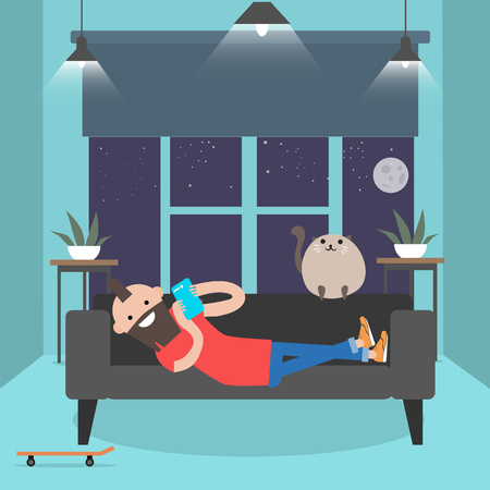 Young character lying on a sofa with smartphone. . Modern lifestyle.Flat cartoon design.clip art