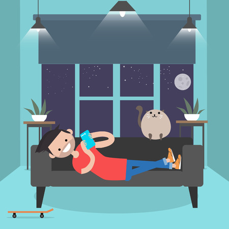 Young character lying on a sofa with smartphone. . Modern lifestyle.Flat cartoon design.clip art Foto de archivo - 124142687