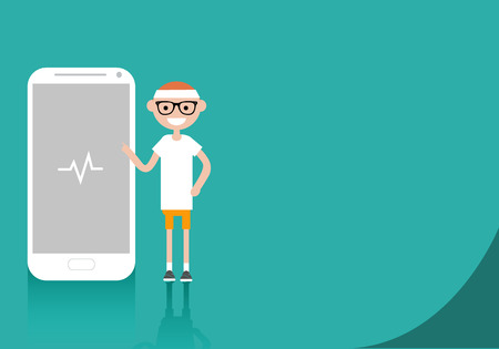 Young character in sportswear standing near smartphone.Sport health app.Space for your text.Flat cartoon design