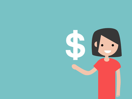 Young character with an imaginary sign dollar.Space for your text.Flat cartoon design Stock fotó - 124042595