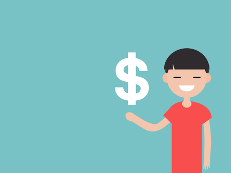Young character with an imaginary sign dollar.Space for your text.Flat cartoon design Stock fotó - 124042600