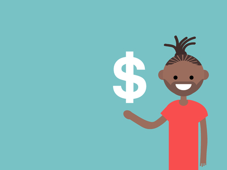 Young character with an imaginary sign dollar.Space for your text.Flat cartoon design Stock fotó - 124042601