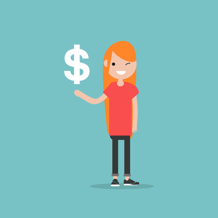 Young character with an imaginary sign dollar.Space for your text.Flat cartoon design Stock fotó - 124009839