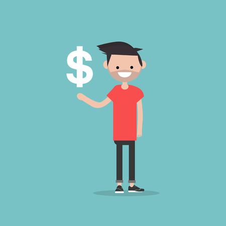 Young character with an imaginary sign dollar.Space for your text.Flat cartoon design Stock fotó - 124009843