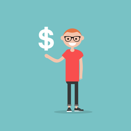 Young character with an imaginary sign dollar.Space for your text.Flat cartoon design