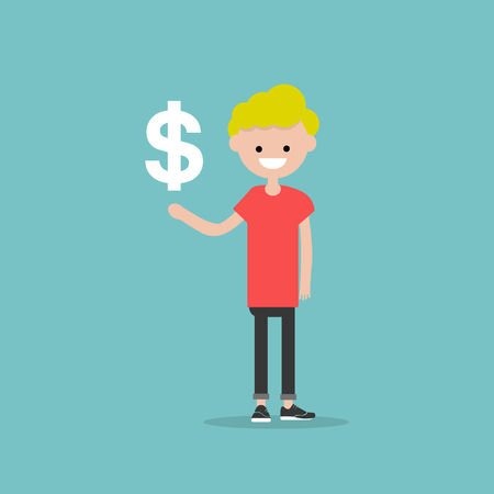 Young character with an imaginary sign dollar.Space for your text.Flat cartoon design Stock fotó - 124009845